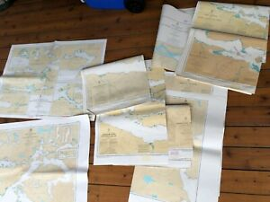 Vintage Canada  BC Sea Map Nautical Charts Adjoining Lot of 7 Johnstone Strait