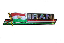 IRAN PERSIAN LION OLD COUNTRY FLAG  METALLIC BUMPER STICKER DECAL..11.75 X 3 IN.