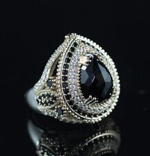 TURKISH HANDMADE ONYX TOPAZ STERLING SILVER 925K RING SIZE 7,8,9,10