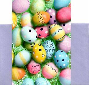 Easter Egg Eggs In Grass Purple Foil Accents Hallmark Greeting Cards - Set of 2