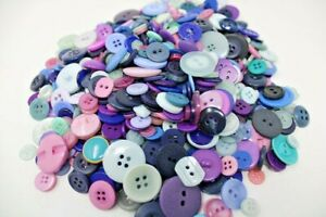 Mixed Lot of 50 BLUE & PURPLE Buttons - Vintage and Modern
