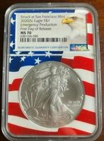2020 (S) NGC MS 70 Silver Eagle FDOR Emergency Production Flag Core