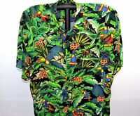 Tropic Joe's Rainforest Wear Hawaiian Shirt XL Toucan Birds Multi-Color SS