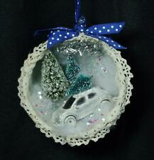 Hand-Crafted Cotage Chic Vintage Teacup Ornament  – B3 Car With Tree