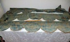 3 Vintage Original Blue Antique Fortuny Window Valances