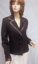 AKRIS Black Label Brown Cashmere Jacket With Leather Trim SZ 10