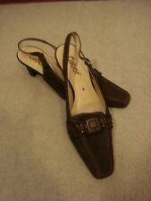 Gabor brown suede embellished slingback shoes UK 4/36-37