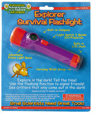 NEW Small Scientists Explorer Survival Flashlight Torch Compass Strap LCD Clock