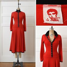 VNTG 1980s 90s Betsey Johnson Dress Red Black Sweatshirt Material Punk Snaps XS