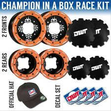 "DWT Orange Champion in a Box 10"" Front 8"" Rear Rims Beadlock Wheels Raptor 700"