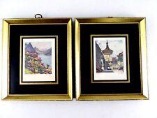 PAIR Vintage Reverse Painted Frames - w/ European Watercolor Prints 6X7