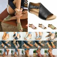 Womens Flat Espadrilles Open Toe Sandals Pumps Summer Beach Casual Shoes Size 10