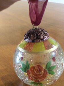"""Russ Festive Gatherings Handpainted Crackle Glass Ornament Red Rose 2.5"""""""