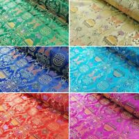 Brocade Chinese Traditional Style Embroidered Silky Satin Fabric 100% Polyester