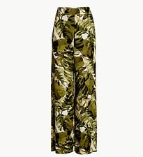 $498 Worth New York PALM PRINT CREPE DE CHINE SIENNA PANTS Wide Leg Silk Sz 8