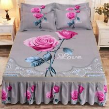 Thicken Sanding Bedspread Wedding Fitted Sheet Cover Soft  King Queen Bed Skirt