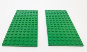 2 x LEGO 8x16 GREEN Plate Baseplate Base - 8x16 STUDS (PINS)  - Brand New