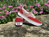 Vans Comfycush Era Tear Check Racing Red Men's Classic Skate Shoes Size 10.5