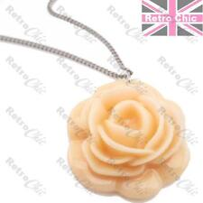 BIG ROSE CABOUCHON pendant NECKLACE vintage silver plated LONG chain PINK/PEACH