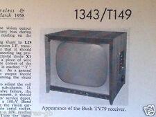 BUSH TV79 * 405-LINE TV * ORIGINAL VINTAGE (1958) TRADER SERVICE  SHEET 1343