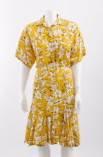 NORMA KAMALI VTG 80s Yellow White Black Floral Tropical Short Sleeve Dress 6/S
