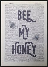 Bee my honey vintage dictionary page wall art photo imprimé bourdon amour mignon