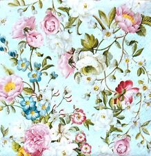 4 Lunch Paper Napkins for Decoupage Party Table Craft Vintage Blue and Roses