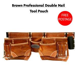 Brown Professional Double Nail Tool Pouch With 10 Pockets & 2 Hammer Holders