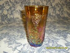 "Indiana Carnival Glass 6"" Marigold Tumbler ""Harvest Grapes"""