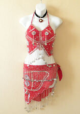 Sales - Clubbing Belly dance Red Beads Halter Top & Wrap Skirt Hip Scarf Set - S