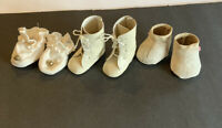 Vintage Doll Shoes Lot 3 Pr White /Beige boots And Booties for Small Dolls