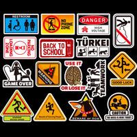 50Pcs Cartoon Graffiti Warning Stickers Skateboard Laptop Car Luggage Art Decal