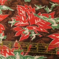 Vtg 50s 60s Flannel Novelty Fabric Canadian Maple Leaf Geese Goose BTHY 34W
