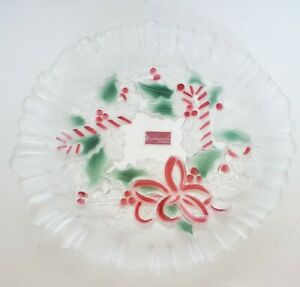 """8.75"""" Mikasa Crystal Dish Festive Wreath Collection Holiday Plate Red Green"""