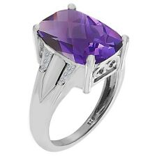 5.40 cts Natural Purpule Amethyst & White Topaz Cushion Cut in Sterling Silver