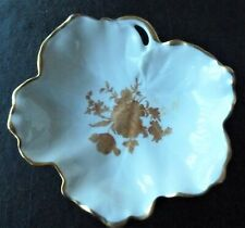 Vintage Limoges France CandyNut Dish White Gold Roses Leaf Shape Scalloped Edge
