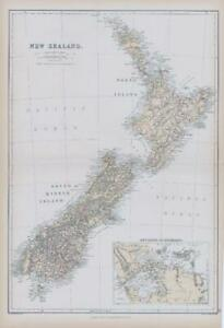 1882 LARGE Antique Colour Map of NEW ZEALAND & AUCKLAND by BLACKIE (BA1)