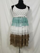 J GEE Boho Hippie  Crocheted Top Tiered Tulle Skirt Dress Size Medium