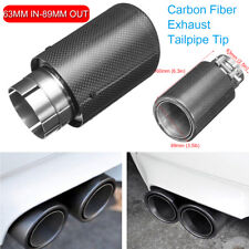 100% Carbon Fiber Exhaust Tailpipe Tip 63mm Clamp-on Car Muffler Trim Cover
