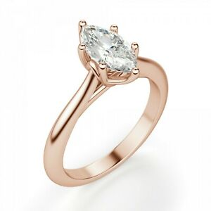 2.00 Ct Moissanite Marquise Cut Rose Gold Royal Ring 18K Solitaire Girl ring