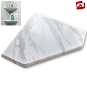 "EZ-MOUNT 8"" Marble Shower Corner Shelf (XD Volakas White) Bathroom Soap Dish"