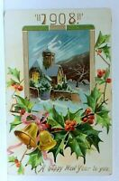 Tuck 1908 Happy New Year Church In Snow Holly Bells Embossed Vintage Postcard