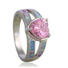 Pastel Rainbow Fire Opal & Pink Topaz Heart Stone 925 Silver Ring SIZE 7