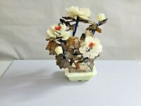 Vintage Asian Chinese Japanese  Stone Flower Bonsai Tree 10'' T ~ 8'' W