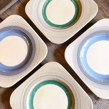 Susie Cooper Art Deco Tango Cuadrado placas laterales de Té Azul Y Verde Pastel Set Of4