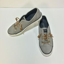 SPERRY Top-Sider Seacoast Canvas gray womens Leather Laces Boat shoes size 7.5