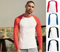 Men's T Shirt Long Sleeve Baseball T Shirt Cotton Tee Contrast