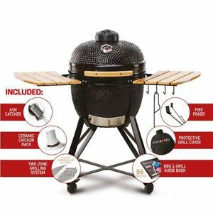 "Kamado Bono Media 20"" BBQ Grill Smoker Ceramic Egg Charcoal Cooking Oven Outdoor"