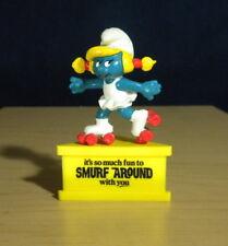 Smurfette Smurf A Gram Rollerskates Figure Vintage Stand Base Toy Figurine 20126