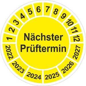 Nächster Prüftermin Wartung  UVV  Prüfplaketten gelb 1 bis1000 Stück 5146 2021